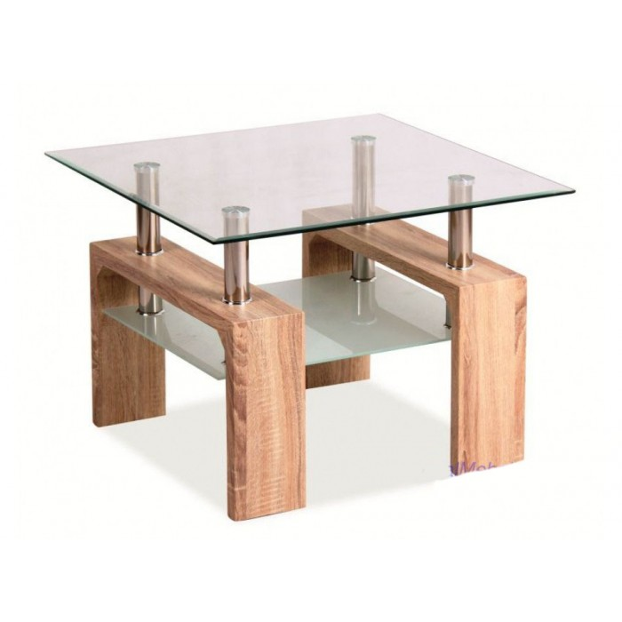 журнальный стол из дерева и стекла