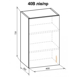 """Навесной шкаф 40 верх Паула """"Мебель Сервис"""""""