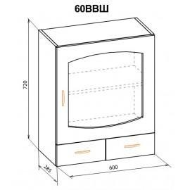 """Навесной шкаф 60 верх витрина Паула """"Мебель Сервис"""""""
