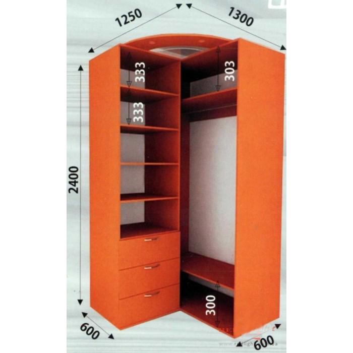 1250х1300х2400 шкаф купе - стандарт.