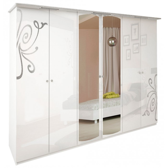 """Богема шкаф 6Д белый глянец """"Миро Марк"""""""